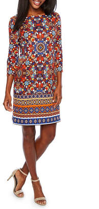 London Times 3/4 Sleeve Medallion Shift Dress