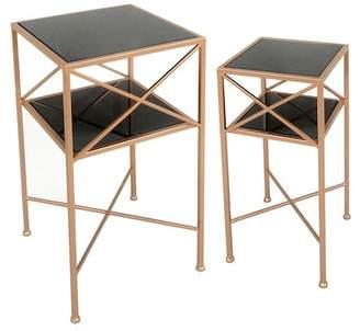 SAGEBROOK HOME Copper\u002FBlack Metal & Mirror Accent Tables - Set of 2