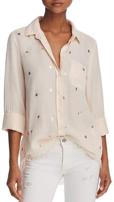 Bella Dahl Metallic-Detail Frayed Hem Shirt