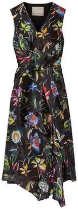 Jason Wu Knotted Floral-Print Crinkled Silk-Satin Dress