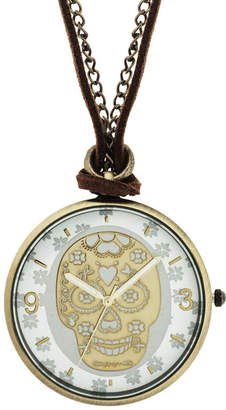 JCPenney Decree Skeleton Pendant Watch Necklace