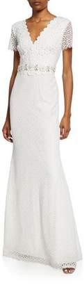Badgley Mischka Floral Lace V-Neck Short-Sleeve Gown w/ Jeweled Belt