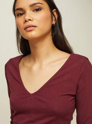 Miss Selfridge Burgundy v-seam top