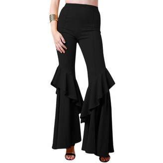 OwlFay Women's Solid Flare Pants High Waisted Ruffle Crepe Tier Cut Bell Bottoms Long Wide Leg Stretchy Leggings Slim Fit Casual Work Yoga Pants Vintage 70s Disco Trousers Dance Clubwear XL