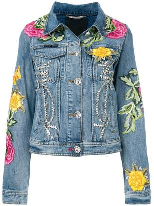 Philipp Plein floral patch denim jacket