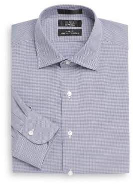 Saks Fifth Avenue BLACK Slim-Fit Houndstooth Two-Ply Cotton Dress Shirt