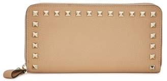 Valentino Rockstud Sand Leather Continental Wallet
