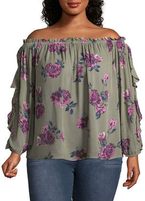 Arizona 3/4 Sleeve Off Shoulder Sleeve Floral Peasant Top-Juniors Plus