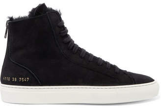 Common Projects Tournament Shearling-lined Suede High-top Sneakers - Black
