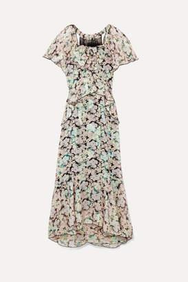 Anna Sui Night Bloom Printed Fil Coupé Silk-blend Chiffon Midi Dress