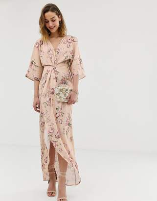Hope & Ivy knot front maxi dress with in multi floral