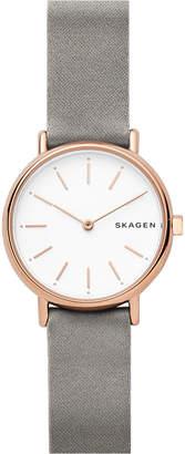 Skagen Women's Signatur Slim Gray Satin Strap Watch 30mm