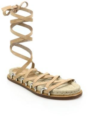 Alexander Wang Adriana Suede Lace-Up Espadrillle Sandals