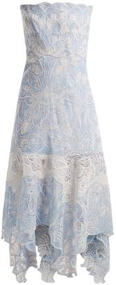 Jonathan Simkhai Strapless floral-embroidered lace dress