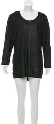 Neil Barrett Long Sleeve Leather Fringe Mini Dress Black Long Sleeve Leather Fringe Mini Dress