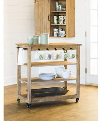 Gracie Oaks Kien Wooden Rolling Bar Cart
