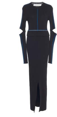 Victoria Beckham Split Cotton-Blend Maxi Dress Size: 4