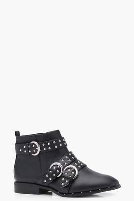 boohoo Pin Stud Strap Chelsea Ankle Boots