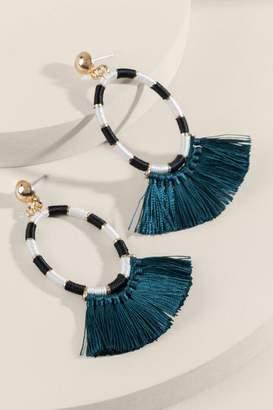 francesca's Sidney Threaded Hoop Tassel Drop Earrings - Pine