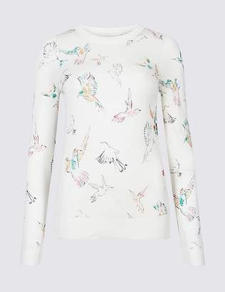 Marks and Spencer Bird Print Round Neck Long Sleeve Jumper