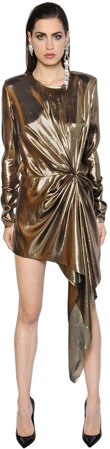 Saint LaurentAsymmetric Draped Silk Lame Dress