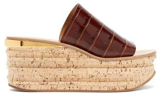Chloé Crocodile Effect Leather And Cork Flatform Mules - Womens - Tan