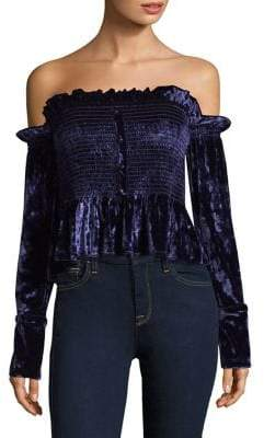 Petersyn Blaine Crushed Smocked Velvet Top