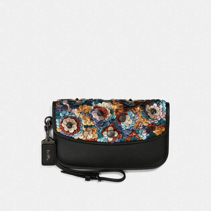 Coach Clutch With Leather Sequin
