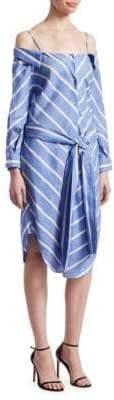 Maje Rulylle Striped Cold-Shoulder Midi Dress