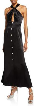 Jill Stuart Keyhole Midi Satin Halter Dress with Buttons