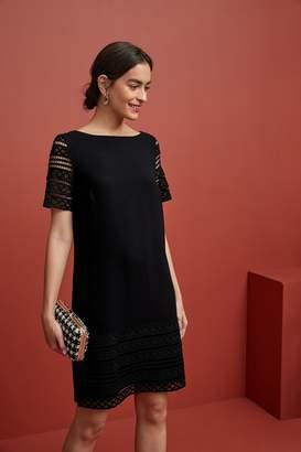 Next Womens Black Lace Detail Shift Dress - Black