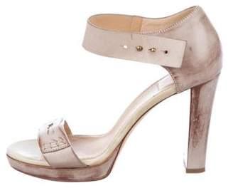 Brunello Cucinelli Distressed Ankle Strap Sandals