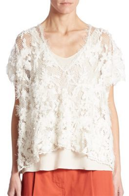 Brunello Cucinelli Open Knit Blouse $2,675 thestylecure.com