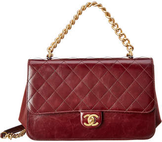 49c2ab38ec49 Chanel Burgundy Quilted Calfskin Leather Accordion Flap Bag