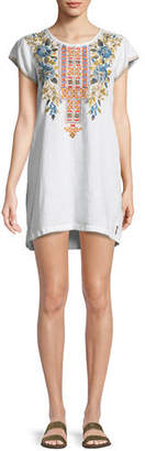Johnny Was Hira Linen Peasant Tunic Dress, Plus Size