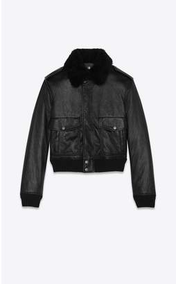 Saint Laurent Bomber Jacket In Black Leather And Shearling