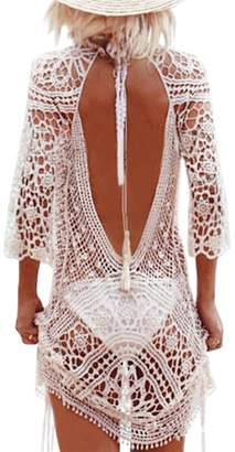 iBaste Womens Sexy Floral Crochet Cover Up Summer Backless Knitted Beach Dress