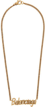 Balenciaga Gold Typo Necklace