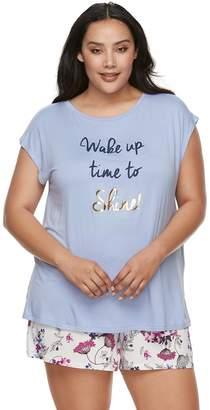 Apt. 9 Plus Size Satin Trim Tee & Shorts Pajama Set