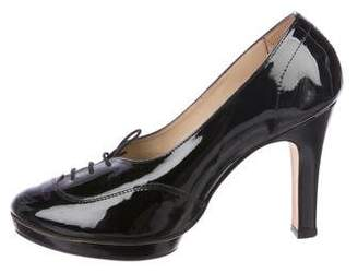 Repetto Lace-Up Patent Leather Pumps
