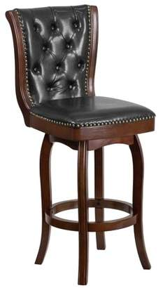 Flash Furniture 30'' High Cappuccino Wood Barstool with Black Leather Swivel Seat