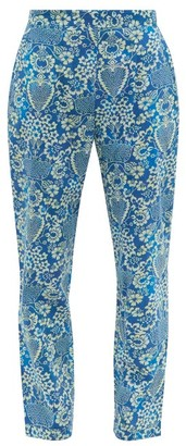 Rhode Resort Rohan Floral Print Cotton Trousers - Womens - Blue Print