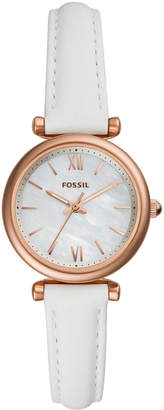 Fossil Women Carlie Mini White Leather Strap Watch 28mm
