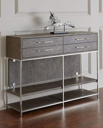 Hooker Furniture Astoria Stainless Steel and Wood Tall Console Table