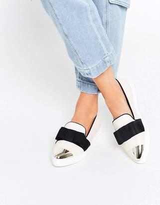 Miss KG Lisa Cream Slip On Silver Toe Cap Skater Shoes