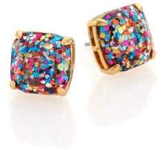 Kate Spade Women's Small Square Glitter Stud Earrings - Gold Multi