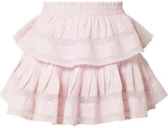 LoveShackFancy Ruffled Lace-trimmed Cotton-voile Mini Skirt - Lavender