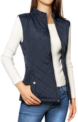 Unique Bargains Woman Zip Up Stand Collar Bodywarmer Quilted Padded Vest Dark Blue XL