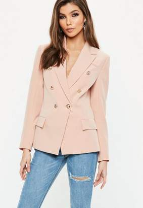 Missguided Peach Military Blazer