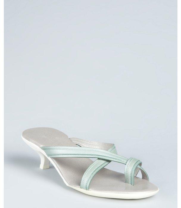 Hogan water green leather 'Sleek' strappy sandals